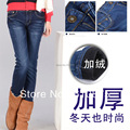 Mulher plus size outono além de veludo engrossar inverno quente para baixo calças femininas calças lápis slim calça jeans senhora de grandes dimensões quente para baixo calças