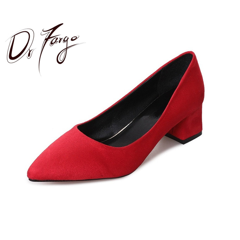 DRFARGO Women Worker <font><b>Shoes</b></font> 5cm Block Mid High Heels Classic <font><b>Sexy</b></font> Pointed Toe Flock Shallow Slip on Pink Red Black Grey <font><b>SHOES</b></font> image
