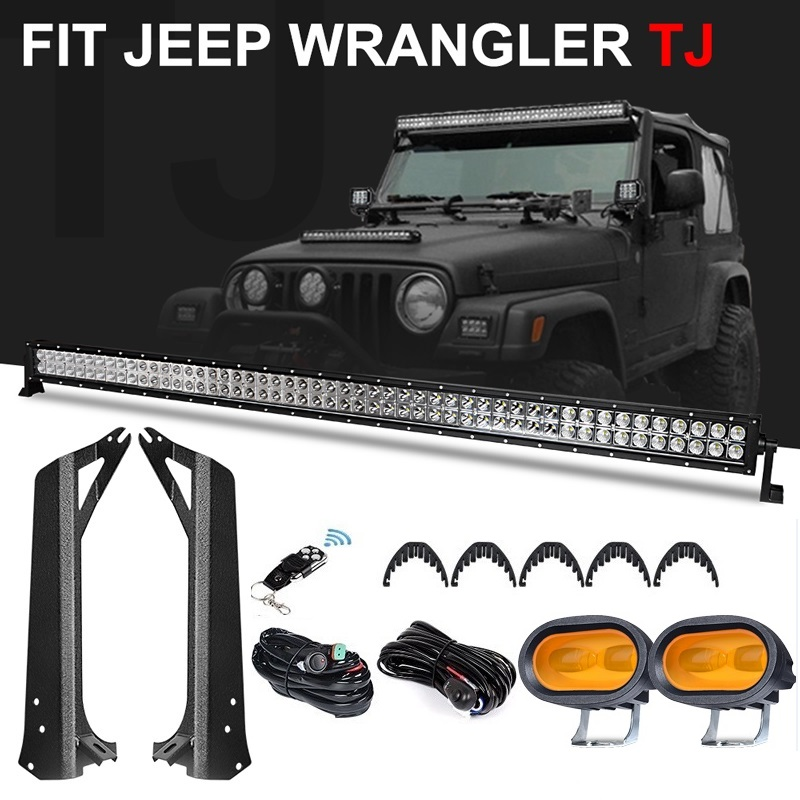 Upgraded 50 inch 288W Offroad Led Light Bar 4 inch 6D Led