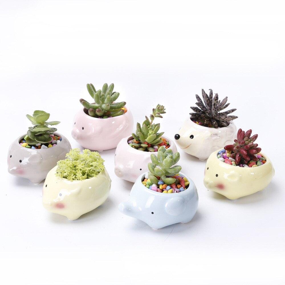10 PCS Set Cute Cartoon Animal Shaped Ceramic Succulent Cactus Flower Plant Pots for Home Garden Office Desktop Decoration