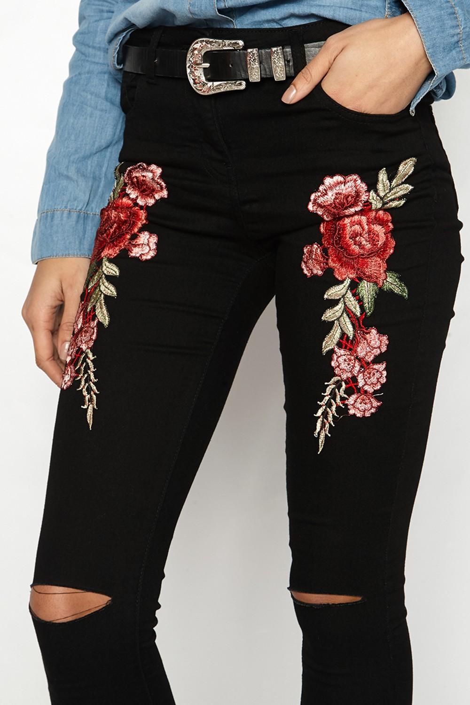 HTB11ZuFRVXXXXXBXVXXq6xXFXXXw - FREE SHIPPING 3 Colors Women Flower Embroidery Hole Jeans High Waist Pencil Pants Skinny Denim Trousers JKP295