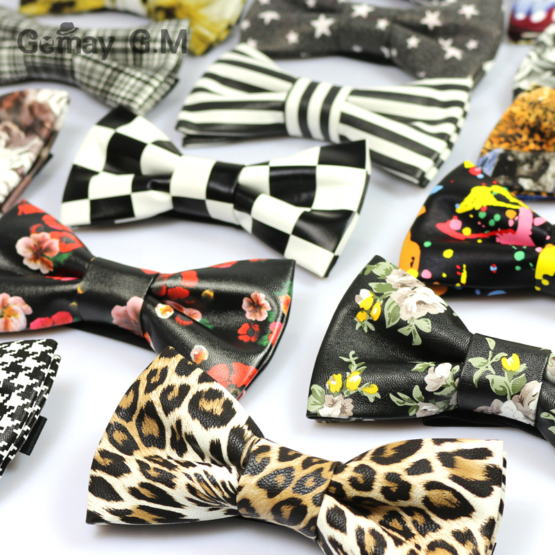 New Fashion Print PU Leather Bowtie for Men Party Bowtie Casual Brand Male Suits Cravats Skinny Bowtie
