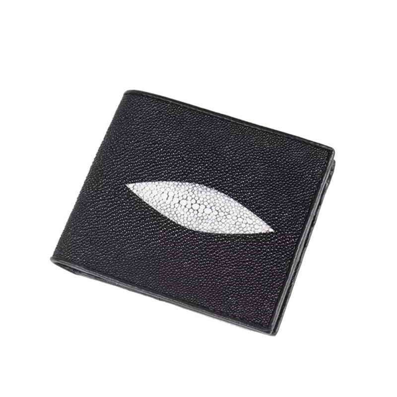 961b52d3de1b US $35.86 33% OFF|Unisex Designer 100% Guaranteed Genuine Skate Skin Short  Clutch Purse Exotic Real Stingray Leather Men Card Case Bifold Wallet -in  ...