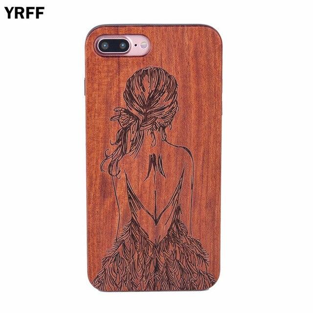 bccb9a7e9b0fb5 YRFF dziewczyna z powrotem rysunek wzór pc + drewniany pokrowiec na telefon  dla iphone 7 8