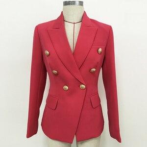 Image 2 - 高品質最新 2020 デザイナーブレザー女性のダブルブレスト金属ライオンボタンスリムフィットブレザージャケットスイカ赤