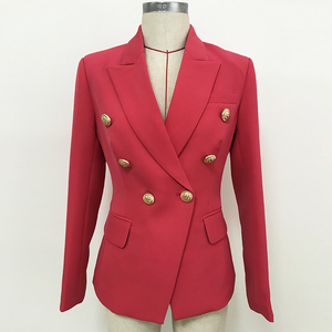 Image 2 - HIGH QUALITY Newest 2020 Designer Blazer Womens Double Breasted Metal Lion Buttons Slim Fitting Blazer Jacket Watermelon Red
