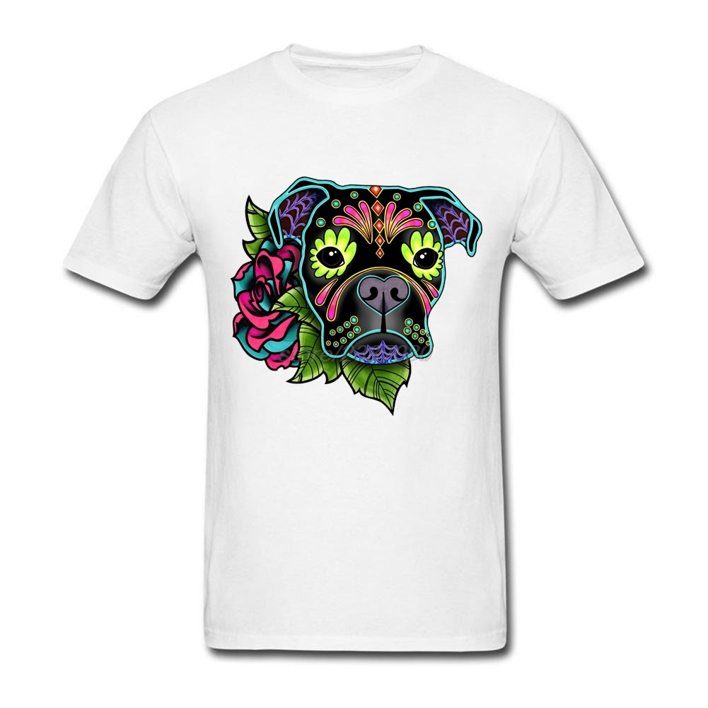 Design your own t-shirt for dogs - 2017 Funny T Shirt Prints 100 Cotton Man T Shirts Boxer In Black Day Of The Dead Sugar Skull Dog Men Crewneck T Shirt