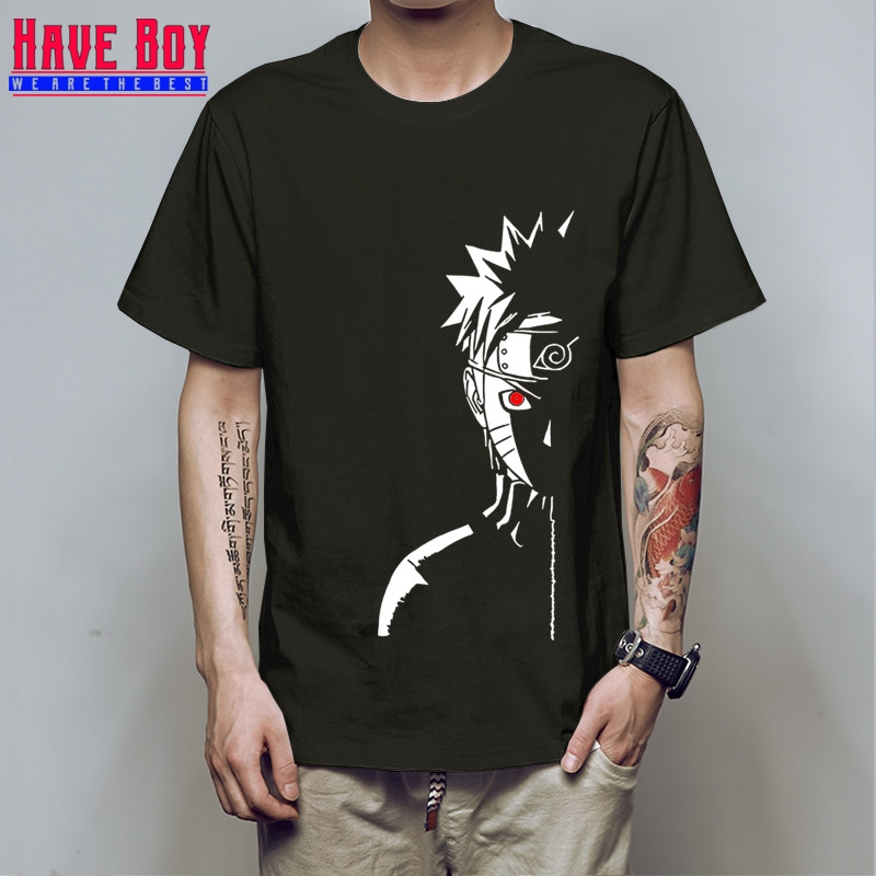 HAVE BOY men fashion   t     shirt   brand summer tees Naruto Shippuden Red Sun Anime striped men   t  -  shirt   100% cotton top tees HB196
