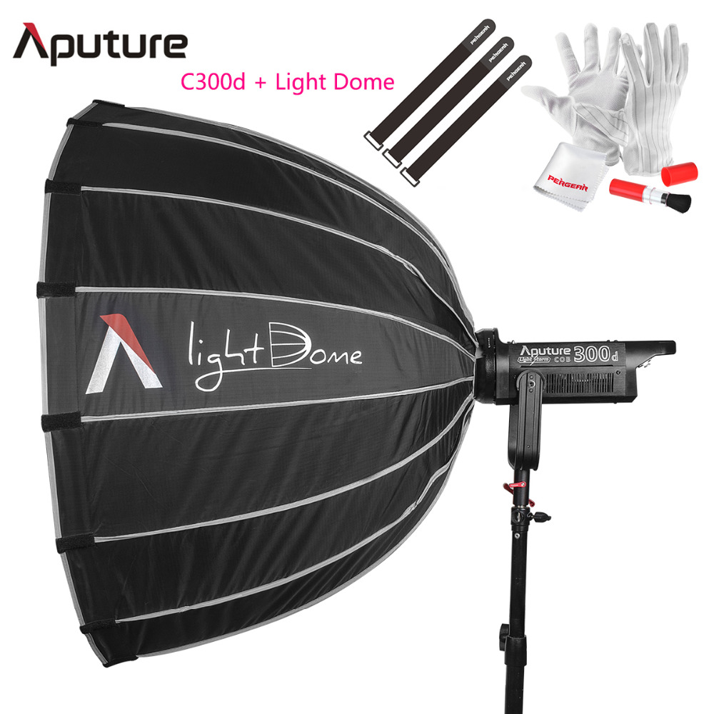 Aputure LS C300d + Light Dome CRI 95+ TLCI 96+ 300W Output COB Shooting Led Studio Light Bowens Mount 2K Tungsten Light Outdoor aputure ls c120d portable professional studio tlci cri 96 6000k led video light continuous lighting daylight with bowens mount