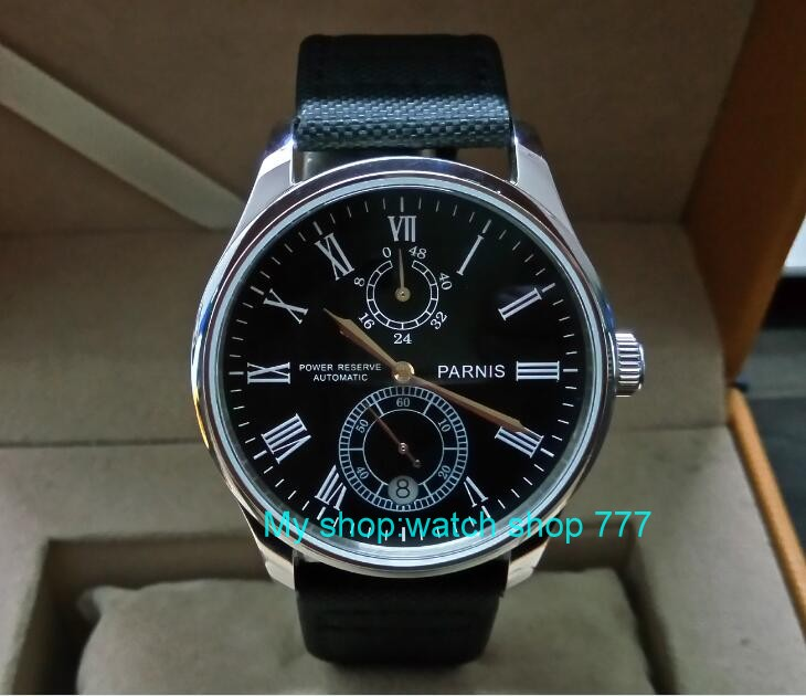 PARNIS 43mm black dial Automatic Self-Wind movement power reserve men's watch Mechanical watches wholesale GL219a parnis 43mm black dial automatic self wind movement power reserve men s watch mechanical watches wholesale gl17a