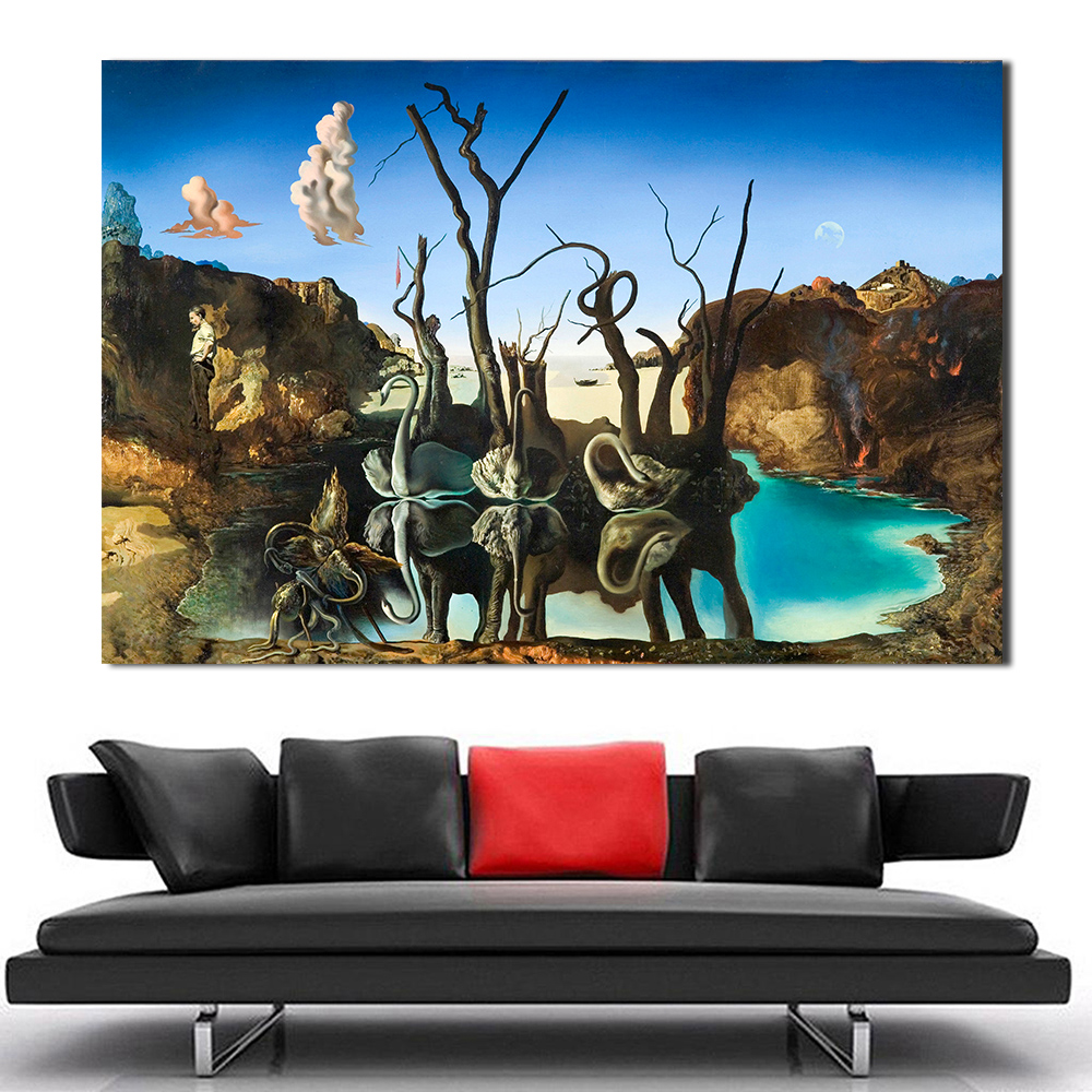 Swant Reflecting Elephant Paint By Salvador Dali REPRINT ON Framed Canvas  Art