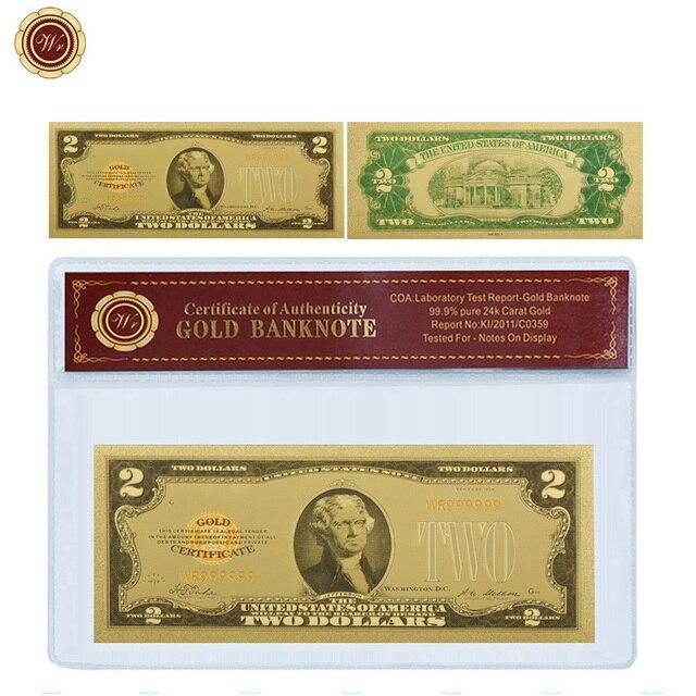 WR Vintage Home Decor 2 Dollar 24k Gold Banknote Unique Gifts ...