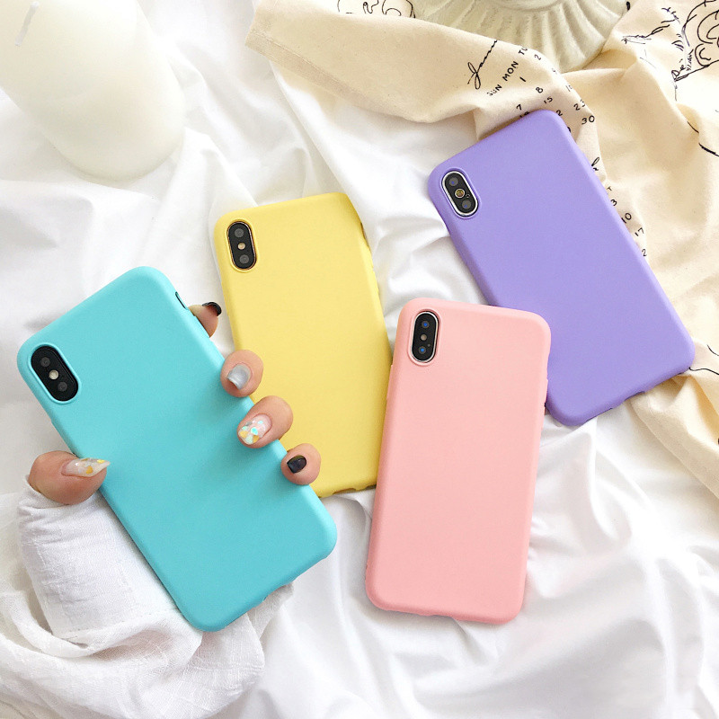 Fashion Candy color soft silicone case For iphone XS MAX XR XMatte back cover For iphone 6 6s 7 7Plus 8 8plus Silicone cover in Fitted Cases from Cellphones Telecommunications