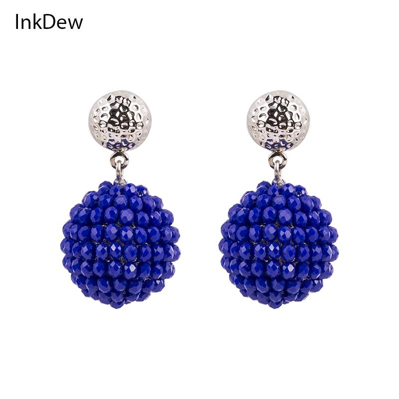 INKDEW գնդաձև ականջող Ականջօղեր Մեծ Ականջօղեր Stud Faceted Beads Ձեռագործ բյուրեղյա Ականջօղեր կանանց համար Նվերների խաղողի բերքահավաք խաղողի բերք