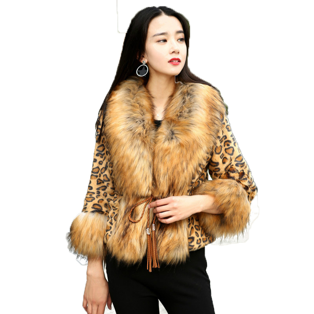 fe3760568ea Chic Warm Women Bomber Imitation fox fur Leopard Coat Faux Fox Fur Big  Lapel Collar Jacket