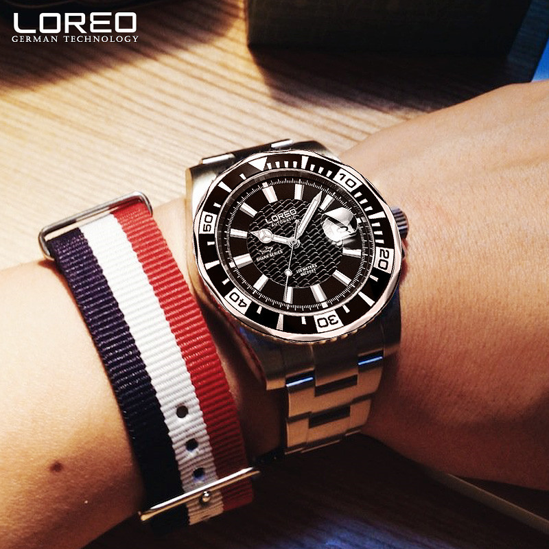 LOREO Sapphire Automatic Mechanical Auto Date Men Watch Stainless Steel Waterproof Leather Watch Relogio Feminine Kol Saati K35 loreo sapphire automatic mechanical watch men stainless steel waterproof auto date nylon watch relogio masculine masculino k34