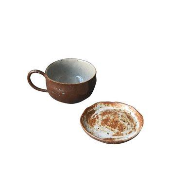 90cc Ceramic Coarse Pottery Coffee Mug Espresso Coffee Cup and Saucer Vintage Drinkware Bar Cafe Bar Cappuccino Zakka Tazas Cups