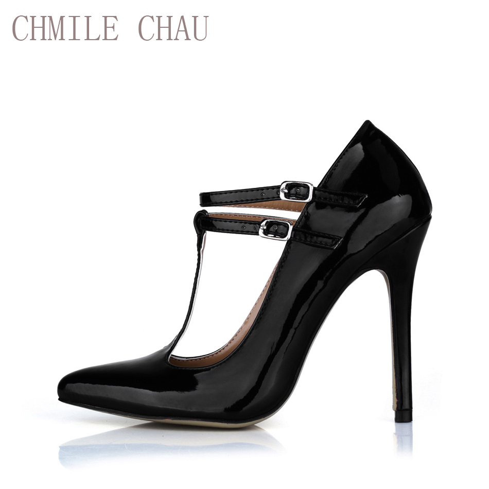 CHMILE CHAU Pearl PU Sexy Party Gress Жіночі туфлі з гострим носком Stiletto Високий каблук T-Stump Насоси Пряжки Zapatos Mujer 0640-i