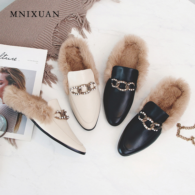 4152c738e05b7 MNIXUAN women flats shoes mules with fur 2018 winter fashion genuine  leather round toe crystal casual no heel sandals big size 9 -  aliexpress.com - imall. ...