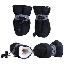 4 pz/set Pet Inverno Caldo Morbido Cachemire di Anti-skid Scarpe Da Pioggia Per Dog Pet Antivento Morbida Calzature Anti- scarpe Impermeabili antiscivolo(China)