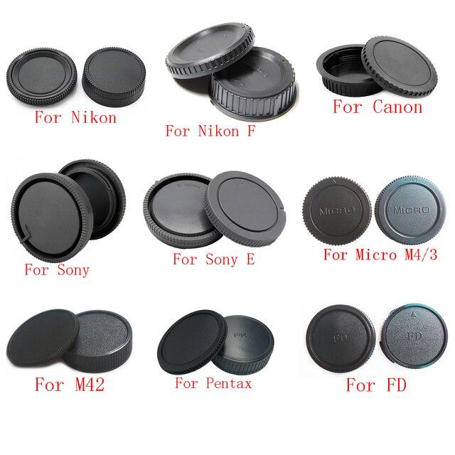 50 çift/grup kamera gövde kapağı + arka Lens kapağı Canon nikon Sony NEX Pentax Olympus Micro M4/ 3 Panasonic M42 FD kamera yatağı