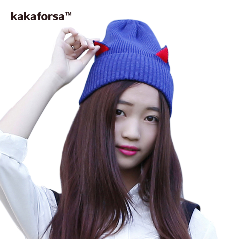Kakaforsa Autumn Winter Women Warm Cotton Knitted Beanies Fashion Cat Ears Hats Casual Solid Thickened Soft Skullies Caps Gorros 2016 new beautiful colorful ball warm winter beanies women caps casual sweet knitted hats for women outdoor travel free shipping