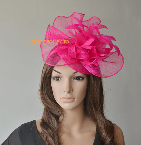 NEW 9 colors Hot pink fuchsia Big Sinamay fascinator hat for church  kentucky derby party races wedding mother of the bride.QF102 43f84bdc83d