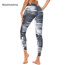 BlackArachnia Women Sexy Gym Leggings Gothic Ink Printing Pants High Waist Fitness Yoga Hips Push Up Wear Workout