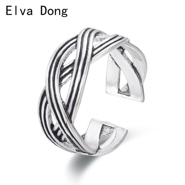 f6210315d Vintage Retro Silver Color Wide Three Braids Rope Chain Open Rings For Women  Girls Finger Jewelry Punk Anillos Bague Anel Aneis