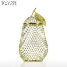 Tooarts Iron Sculpture Money Box Pear Storage Jar Handmade Metal Cork Container Coin Bank Saving Box Electroplating Technology(China)