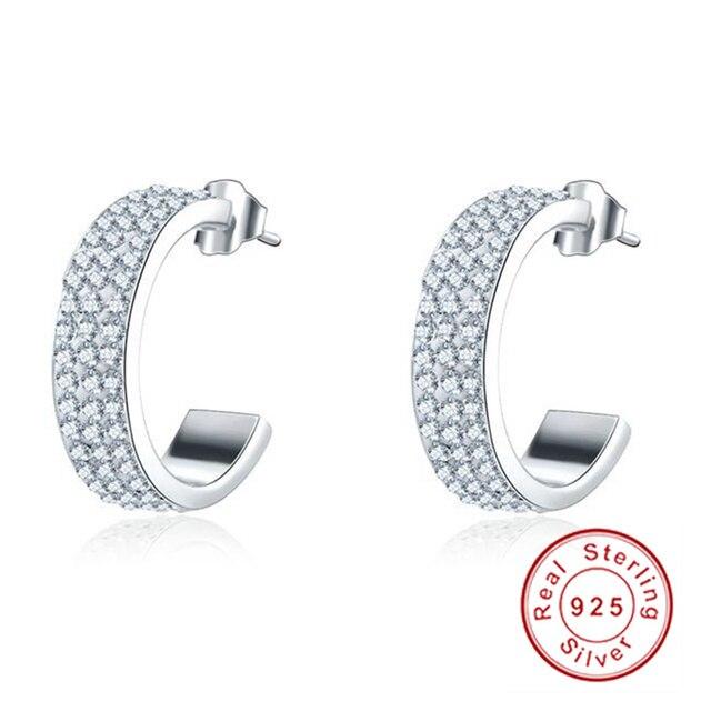 HOT SALE! Luxury Brand Wholesale Hoop Earrings 925 Sterling Silver Cubic Zircon Inlayed Elegant Small Circle Earings For Women