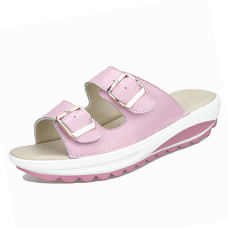 Image 4 - BEYARNE  Womens Sandals Slippers Buckle Beach Summer Wedges Platform Shoes Casual Candy Color Slideswomen sandals slipperswomen sandalssummer wedges -