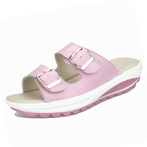 Image 4 - BEYARNE  Womens Sandals Slippers Buckle Beach Summer Wedges Platform Shoes Casual Candy Color Slides