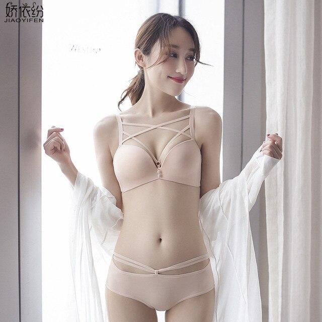 JYF Brand Luxury deep V bra set ultra-thin sexy women underwear adjusted push  up bra set high quality hollow bra brief sets cac5724bf