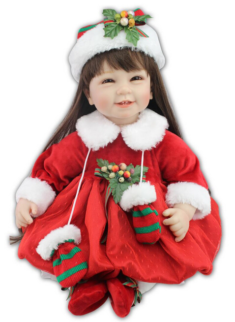 22' Christmas Baby-reborn girl doll handmade doll soft silicone vinyl fashion  lifelike boneca reborn baby toys for girl gift zooler genuine leather genuine real cowhide small handbags high quality brand women plaid shoulder bags chain tote crossbody bag