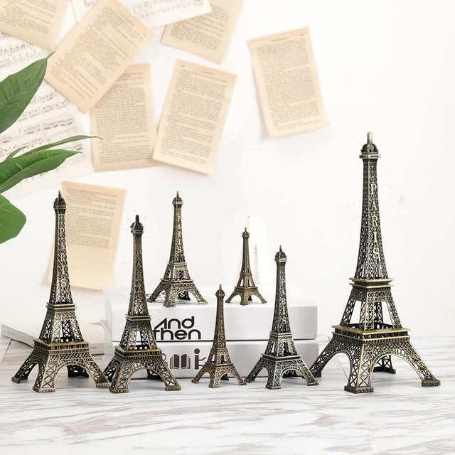 8cm-18cm Vintage Metal Paris Eiffe Iron Tower Bronze Style Figurines Craft Retro Antique Model Home Desk Decor Ornament Gift 1