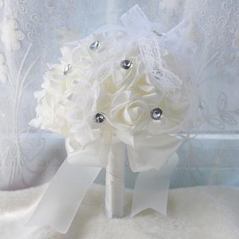 Sztuczne bukiety ślubne róże bukiet ślubny bukiet ślubny wstążki kryształy kwiaty ślubne bukiety ślubne 654 tanie i dobre opinie H S BRIDAL 23cm 0 14kg 27cm Poliester