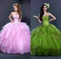 Most Modest Ball Gown Sweetheart Quinceanera Dress Tiered Organza Embroidery Cheap Sweet 16 Girls Dress For Quinceanera
