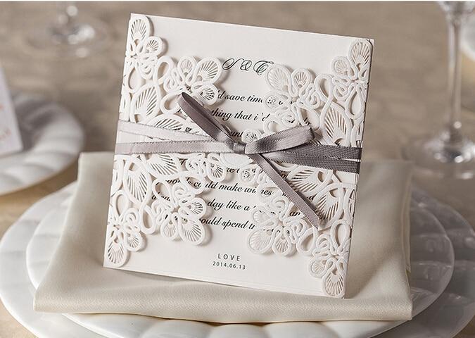 100pcs Lace Hollow Wedding Invitations 2016 Elegant Ivory – Cheap Traditional Wedding Invitations
