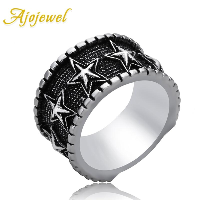Ajojewel 2017 New Unisex Rings Black Star Vintage Mens Ring Women Finger Jewelry Bague