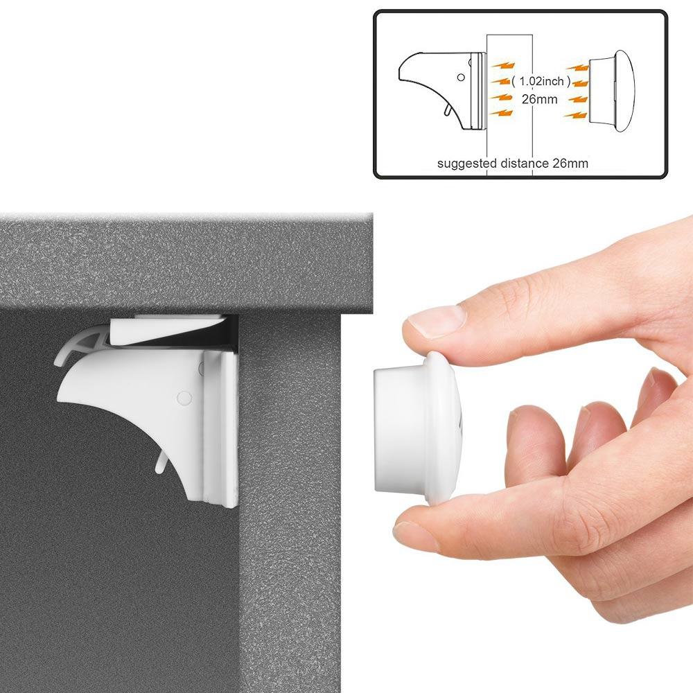 4 piezas Niño magnético bloqueo de seguridad del bebé armario gabinete protección niños cajón armario niños seguridad pestillos