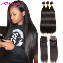 Mslynn Hair Malaysian Straight Hair Bundles With Closure Human Hair 3 Bundles With Lace Closure 4