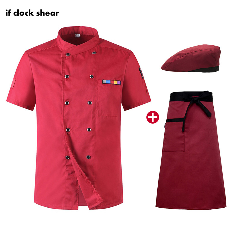 IF Short Sleeve Chef Jackets Hotel Kitchen Catering Work Clothes Men Hat Apron Shirt Men Chef Restaurant Uniforms New Wholesale