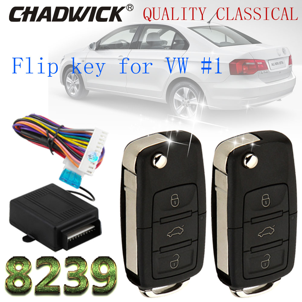 01 flip key keyless entry system for vw Volkswagen remote control door lock locking CHADWICK 8239 heavy B5 style classical hot in Burglar Alarm from Automobiles Motorcycles