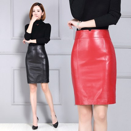 Women New Autumn and Winter Over the Knee Pure Genuine Sheep Leather Skirt K89