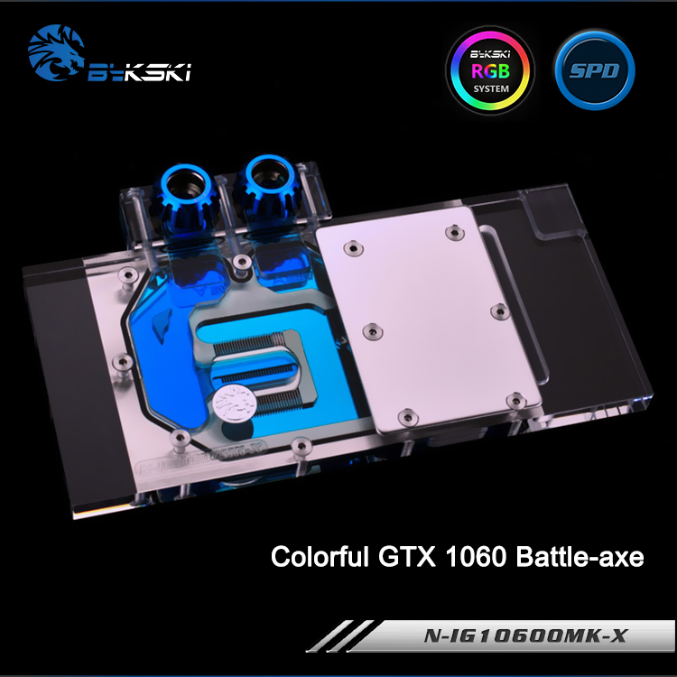 Bykski N-IG1060OMK-X Full Cover Graphics Card Water Cooling Block RGB/RBW/AURA for Colorful GTX 1060 Battle-axe bykski n ms1060oc x vga water cooling block for msi gtx 1060 oc