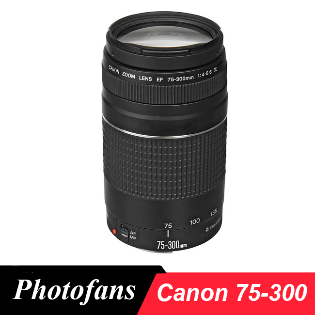 Canon lens EF 75 300mm F/4 5.6 III Telephoto Lenses for Canon camera 1300D 600D 700D 750D 760D 60D 70D 80D 7D 6D T6 T3i T5i T6-in Camera Lens from Consumer Electronics