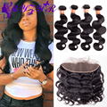 Brazilian Virgin Hair With Closure Ear To Ear Lace Frontal Closure With Bundles Rosa Queen Hair Products With Closure Bundles