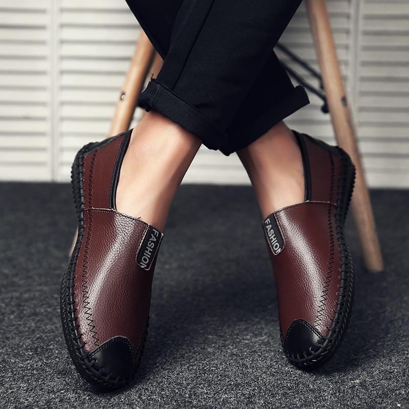 Sobre Clássicos Homens Maduros Deslizamento De marrom Preto Plana Para Casuais Condução Sapatos azul Couro Genuíno rqwt40r