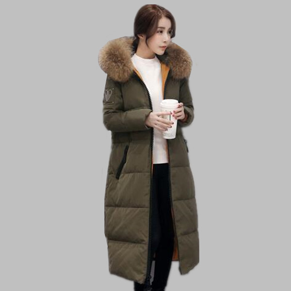Nuevo 2016 de la marca de moda chaqueta de invierno larga de las mujeres gruesas de invierno abajo de la capa con capucha de piel de pato blanco abajo chaquetas de las mujeres parkas A309